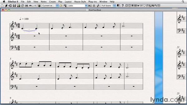 Creating and extending slurs and phrase marks: Sibelius 6 Essential Training