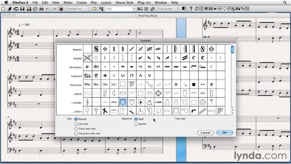 "Adding other symbols to your score: The ""Zymbols"" menu: Sibelius 6 Essential Training"