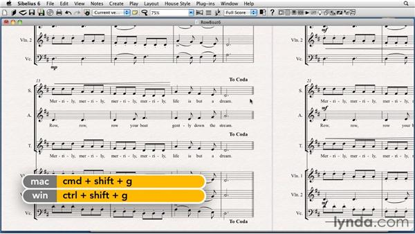 Creating repeat text: Sibelius 6 Essential Training