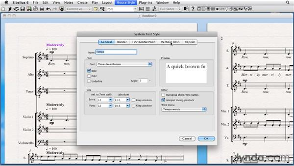 Setting system object positions: Sibelius 6 Essential Training