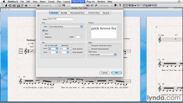 Creating a new text style: Sibelius 6 Essential Training
