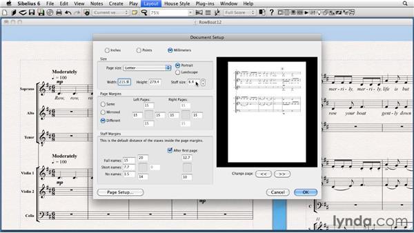 Formatting with document setup: Sibelius 6 Essential Training