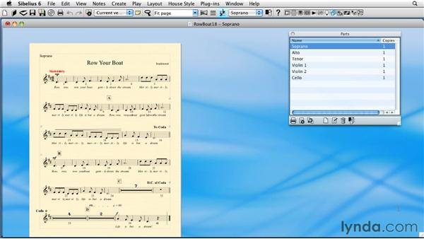 Formatting dynamic parts using Multiple Part Appearance: Sibelius 6 Essential Training