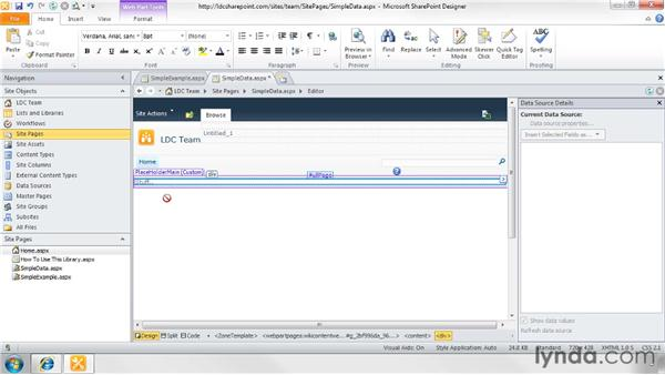 Working with existing lists and libraries: SharePoint Designer 2010: Creating Data-Driven Web Pages