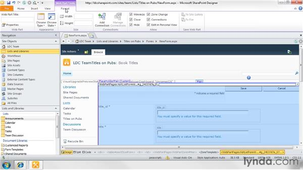 Creating custom forms for lists and external lists: SharePoint Designer 2010: Creating Data-Driven Web Pages