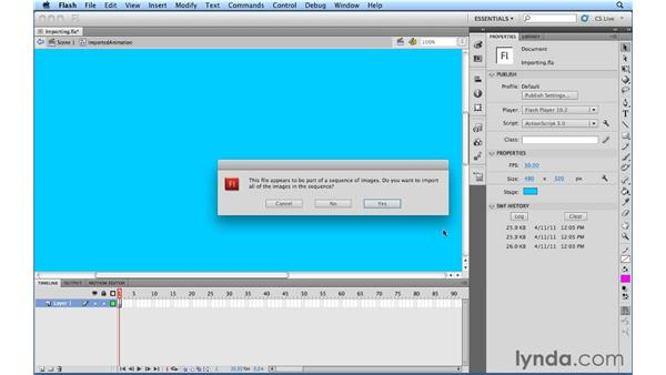 Importing sequences of images: Flash Professional Power Shortcuts