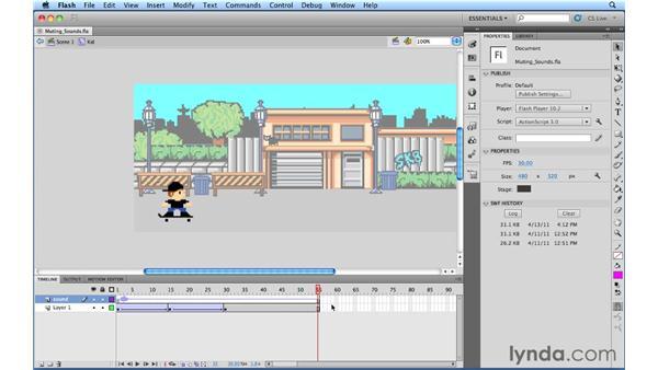 Muting sounds: Flash Professional Power Shortcuts