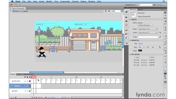 Working with frame previews: Flash Professional Power Shortcuts