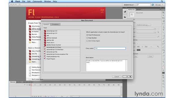 Creating new class/interface files: Flash Professional Power Shortcuts