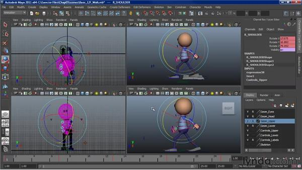 Adding character to a walk: Contact position: Character Animation: Maya