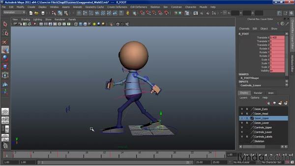 Adding character to a walk: Finalizing: Character Animation: Maya