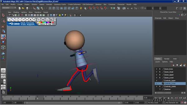 Animating a run: Mirroring the basic poses: Character Animation: Maya