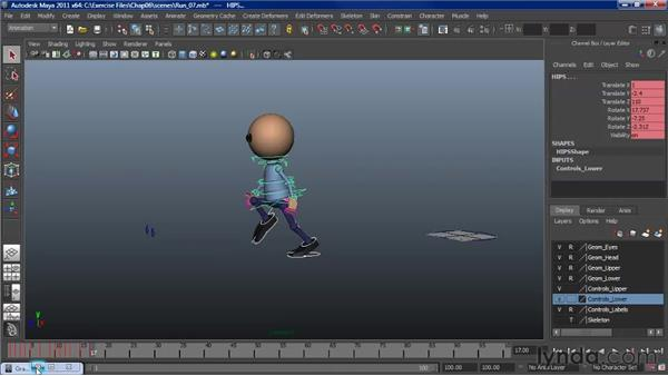 Animating a run: Cycling the animation: Character Animation: Maya
