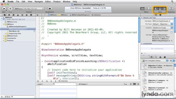 Touring the Xcode 4 interface: Distributing Mac OS X Applications Through the App Store