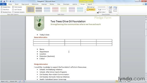 Using tables to design a form: Word 2010: Forms in Depth
