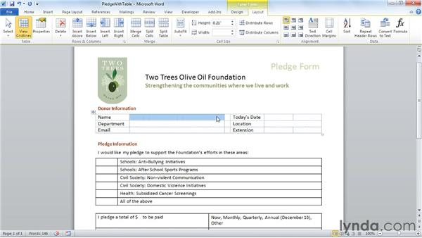 Formatting form tables: Word 2010: Forms in Depth