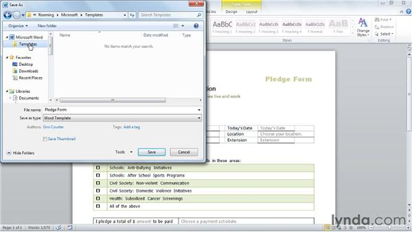 Saving a document as a template: Word 2010: Forms in Depth
