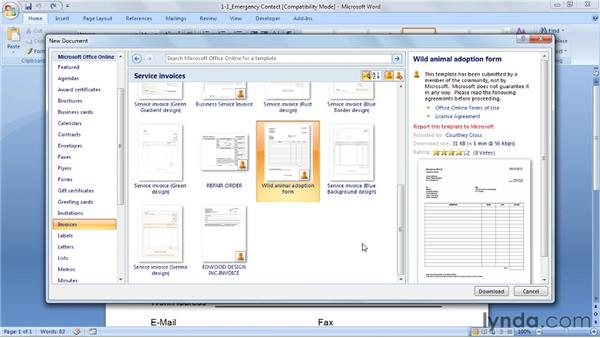 Starting with a template from Microsoft.com: Word 2007: Forms in Depth