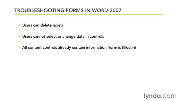 Troubleshooting form issues: Word 2007: Forms in Depth