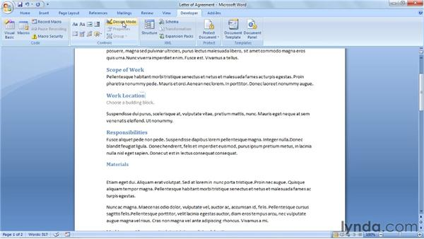 Using the Building Block Gallery content control: Word 2007: Forms in Depth