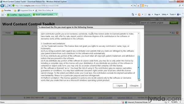 Downloading and installing the Word Content Control Toolkit: Word 2007: Forms in Depth