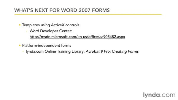 What's next?: Word 2007: Forms in Depth