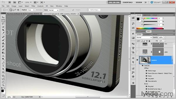 Partnering bump maps with diffuse textures: Photoshop CS5 Extended One-on-One: 3D Scenes