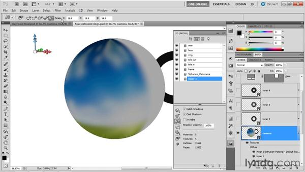 Combining 3D layers with Merge Down: Photoshop CS5 Extended One-on-One: 3D Scenes