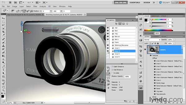 Nesting objects in regular increments: Photoshop CS5 Extended One-on-One: 3D Scenes