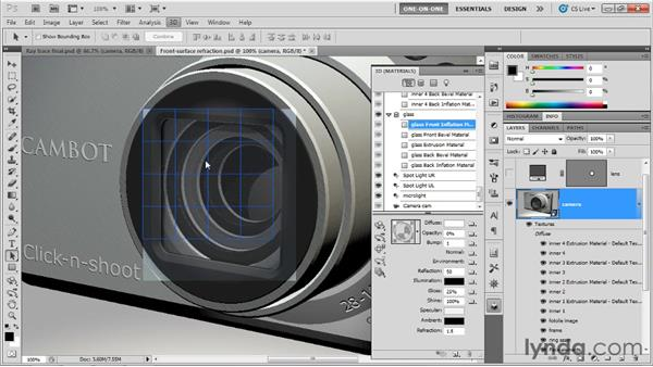Adjusting a double refraction effect: Photoshop CS5 Extended One-on-One: 3D Scenes