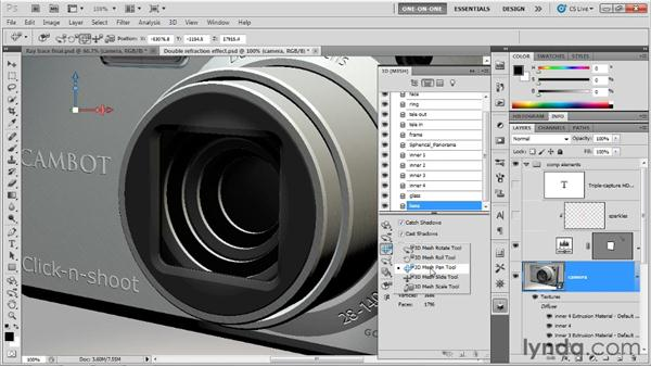 Creating a reflective lens: Photoshop CS5 Extended One-on-One: 3D Scenes