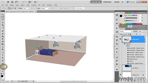 Making sense of a single-mesh scene: Photoshop CS5 Extended One-on-One: 3D Scenes