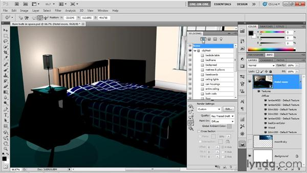 Precisely positioning lights: Photoshop CS5 Extended One-on-One: 3D Scenes