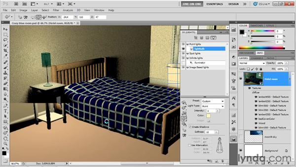 Color, softness, and attenuation: Photoshop CS5 Extended One-on-One: 3D Scenes