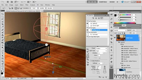 Using the Hotspot and Falloff options with a spotlight: Photoshop CS5 Extended One-on-One: 3D Scenes