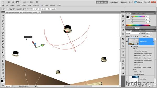 Placing and pointing a spotlight: Photoshop CS5 Extended One-on-One: 3D Scenes