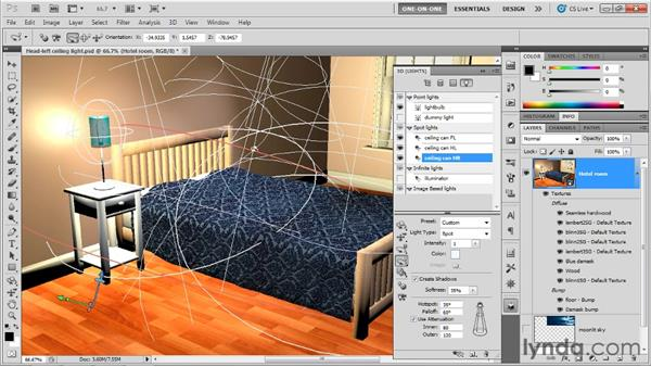 Moving cameras and lights: Photoshop CS5 Extended One-on-One: 3D Scenes