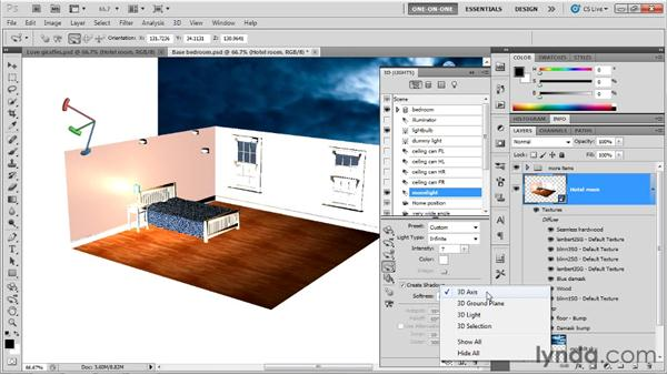 Shining light through a window: Photoshop CS5 Extended One-on-One: 3D Scenes