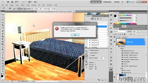 Using a 3D postcard as a light shield: Photoshop CS5 Extended One-on-One: 3D Scenes