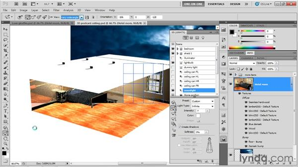 Adjusting an infinite light source: Photoshop CS5 Extended One-on-One: 3D Scenes