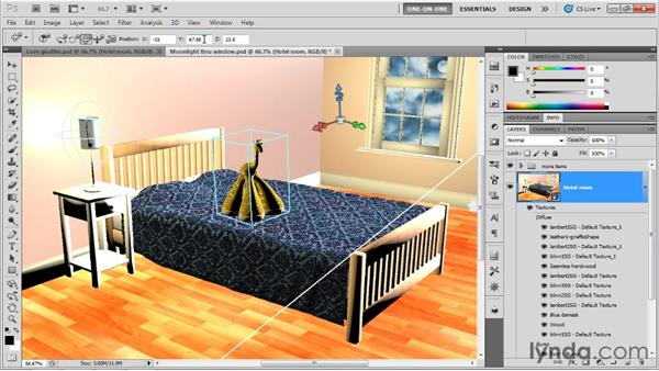Adding two new models to a scene: Photoshop CS5 Extended One-on-One: 3D Scenes