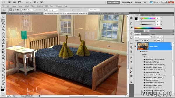 Diffuse texture vs. self-illumination: Photoshop CS5 Extended One-on-One: 3D Scenes