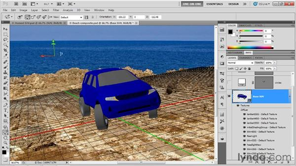Aligning the ground plane to a photograph: Photoshop CS5 Extended One-on-One: 3D Scenes