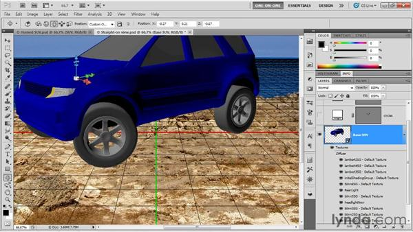 Positioning a 3D scene as an object: Photoshop CS5 Extended One-on-One: 3D Scenes