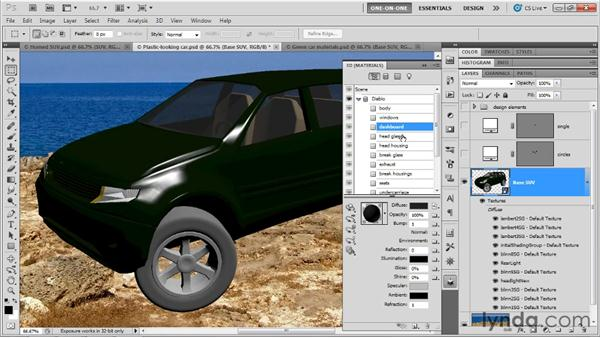 Designing shiny surfaces: Photoshop CS5 Extended One-on-One: 3D Scenes