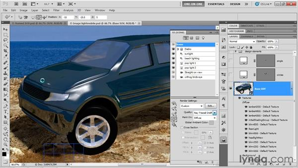 Lighting a factory-new 3D car: Photoshop CS5 Extended One-on-One: 3D Scenes