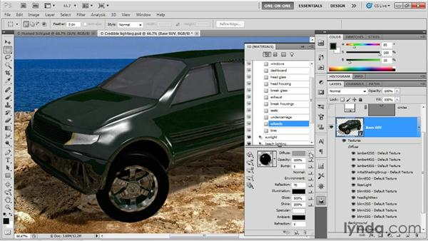 Adding metallic paint and tire treads: Photoshop CS5 Extended One-on-One: 3D Scenes