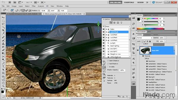 Importing independently editable meshes: Photoshop CS5 Extended One-on-One: 3D Scenes