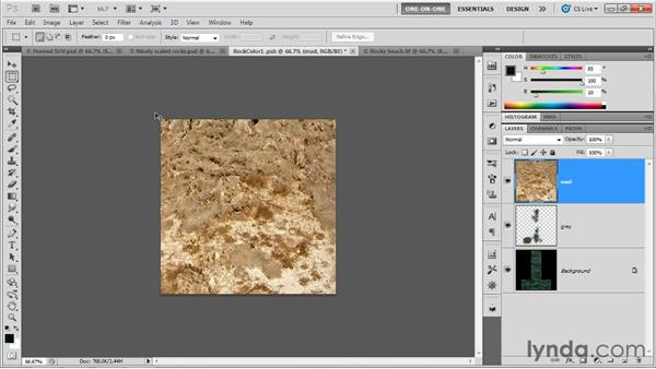 Designing a content-aware diffuse texture: Photoshop CS5 Extended One-on-One: 3D Scenes
