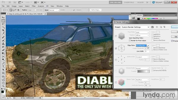 Working with the Edge and Vertex Style options: Photoshop CS5 Extended One-on-One: 3D Scenes